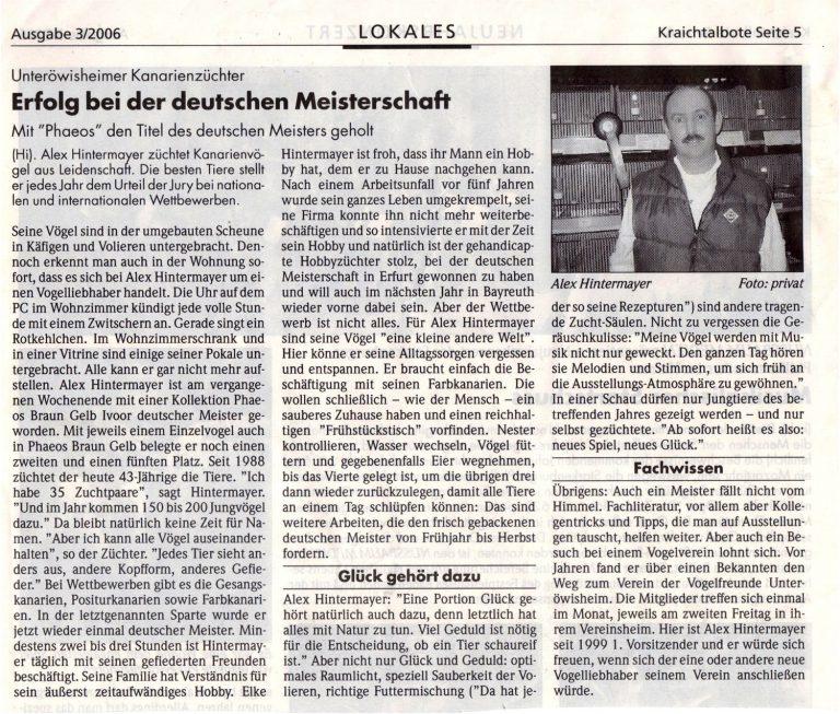 Bericht Kraichtalbote 03/2006