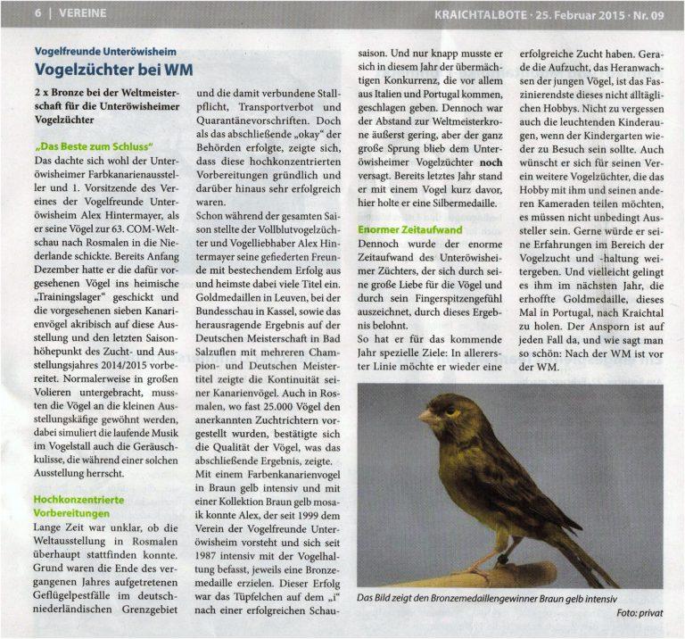 Bericht Kraichtalbote 02/2015